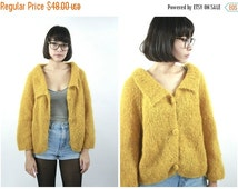 FLASH SALE 60s Mustard Yellow Mohair Cardigan / Vintage Grunge Fuzzy Sweater / Size S/M Small Medium