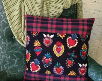 Mexican Sacred Hearts Pillow Cover Black Plaid Flannel