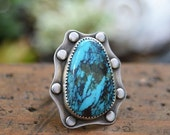 SALE Turquoise Ring. Large Sterling Silver Southwestern Ring.  Boho Statement Ring. Unique Jewelry. Size 7 1/4