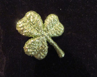 lime green shamrock brooch