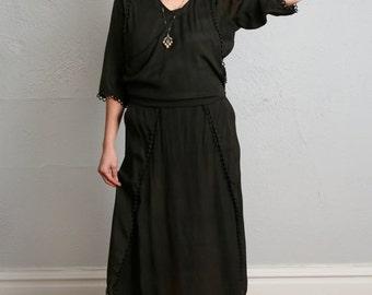 ON SALE Antique Edwardian Black Button Dress 1910s