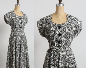 ON SALE Paisley Dress with Loop Trim . Black and White Gown