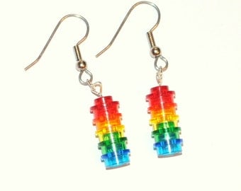 Rainbow LEGO® Brick Dangle Earrings