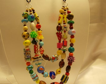Fun and chunky lampwork Necklace