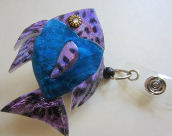 Retractable Reel Badge ID Holder Whimsical tropical Fish in blue and purple
