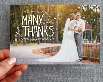 """Digital File, Wedding thank you postcard, Hand lettered and detailed, """"Alana Style"""""""