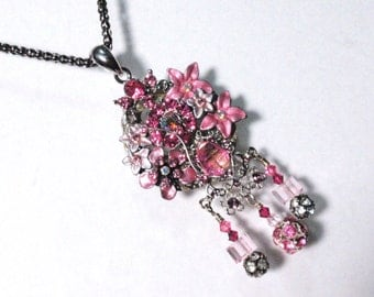 Hot Pink Rhinestone Flower Garden and Disco Balls Statement Pendant Assemblage Wearable Art Home Decor Hangy Thing Christmas Ornament
