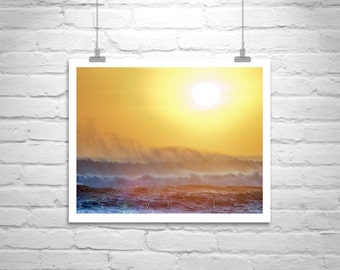 Beach Art, Windy, Pacific Ocean, Sunset Photograph, California Beach, California Coast, Big Sur Art, Fine Art Print, Jalama, Ocean Waves