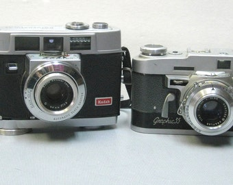SALE Vintage Kodak Motormatic 35 and Graphic 35 Collectible Cameras for Display or Repair