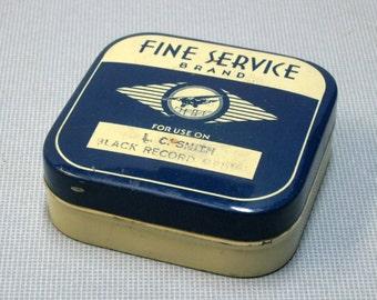 Vintage Fine Service Brand Typewriter Ribbon Tin with Cellophane sealed Ribbon