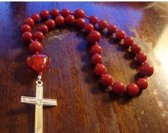 Christmas in July Red Coral Anglican Rosary  Protestant Prayer Beads   Passion