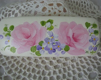 White Eyeglass case Hand Painted Chic Pink Roses Purple flowers