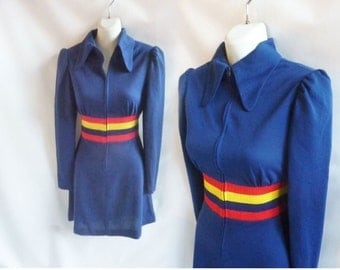 Vintage 60s Dress size M Navy Blue Mod Gogo Stripe Disco Hip Hop 70s
