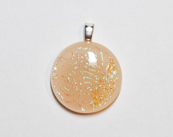 Petite round peach with blue/green dichroic swirl fused glass pendant - 234