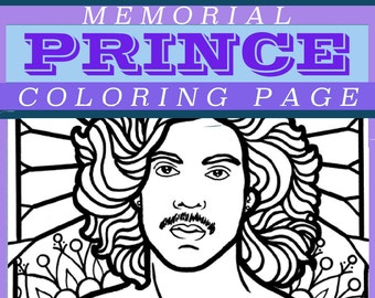 PRINCE Rogers Nelson memorial coloring page | PDF instant download | illustration celebrity | adult COLORING pages | Made by Lauren B