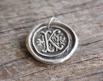 Wax Seal Letter Pendant - Fine Silver - Silver Initial Necklace - Monogram Jewelry