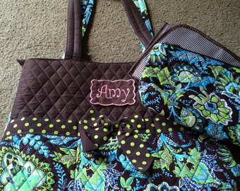 Personalized Brown and Blue Paisley Diaper Bag