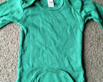 Green long sleeve creeper Newborn Infant Baby onesie  great for crafts