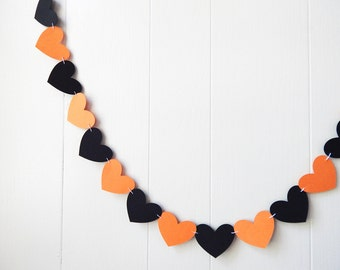 Halloween Heart Garland / Halloween Decoration / Love Bunting / Love Halloween Decor / Photo Prop / Adjustable Hand Sewn