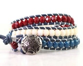 Fourth of July Bracelet Patriotic Jewelry Leather Bracelet Americana Jewelry Red White Blue Stars and Stripes USA Wrap Bracelet Beaded