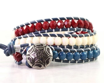 Wrap Bracelet Patriotic Jewelry Blue Leather Bracelet Americana 4th of July Jewelry Red White Blue Stars and Stripes USA Wrap Bracelet