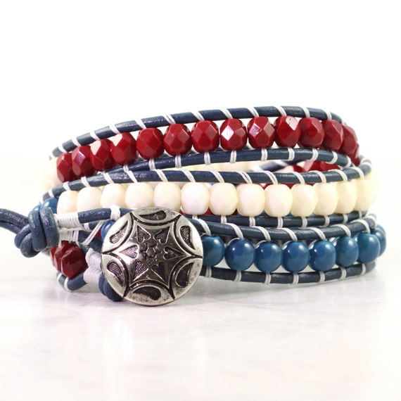 May The 4th Be With You Necklace: 4th July Bracelet Patriotic Jewelry Leather Bracelet Americana