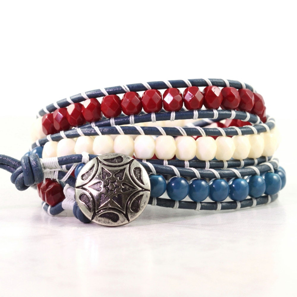 4th july bracelet patriotic jewelry leather bracelet americana
