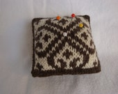 Pin Cushion - Hand Knit Fair Isle - Reversible to Opposite color-way