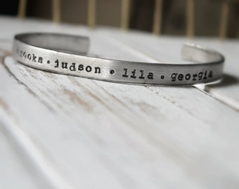 SALE FREE SHIPPING. Hand Stamped Cuff Bracelet. Silver Aluminum. Personalized