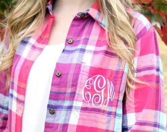 Monogrammed Plaid Flannel Shirt - Raspberry, Personalized Flannel Shirt, Gift for Her, Christmas Gift, Winter Fashion