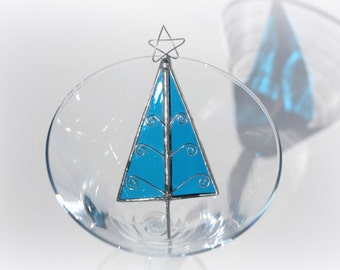 Stained Glass Tree Ornament for Christmas ICE BLUE