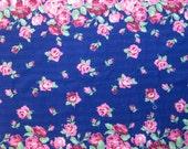 6yds Vintage Cotton Seersucker Blue Floral Yardage