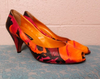 Vintage 1980's Pancaldi Italian Leather Orange Pink Black Open Toe Shoes Heels 10