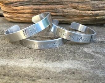 New Aluminum Bangle - Cuff Hand Stamped Bracelet Baseball - Football - Sport Number Bracelet