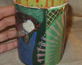 Bold and vivid ceramic hand painted fish mug