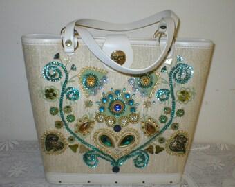 Enid Collins Style Purse Bucket Sequin Jeweled Tote Handbag Vintage
