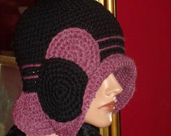 Flapper Hat Cloche  1920 style Crochet Handmade Black PlumTrim