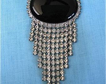 Vintage Black Oval Pin