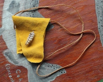 Deerskin necklace pouch with rattlesnake rattle for crystals, herbs, fetiches, medicine, and other small sacred objects