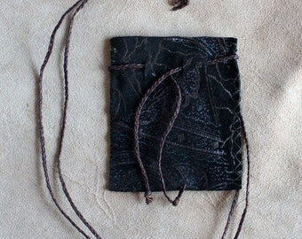 Recycled black embossed leather necklace pouch for crystals, herbs, fetiches, medicine, and other small sacred objects