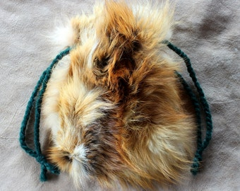 Vintage upcycled red fox fur drawstring pouch with braided yarn drawstrings dice tarot runes crystals