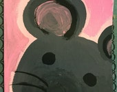 Mouse Hand painted notecard