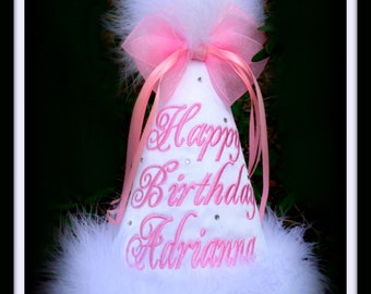 White First Birthday Hat, White 2nd Birthday Hat, Monogrammed, You Pick Colors,  Gingham Bunny