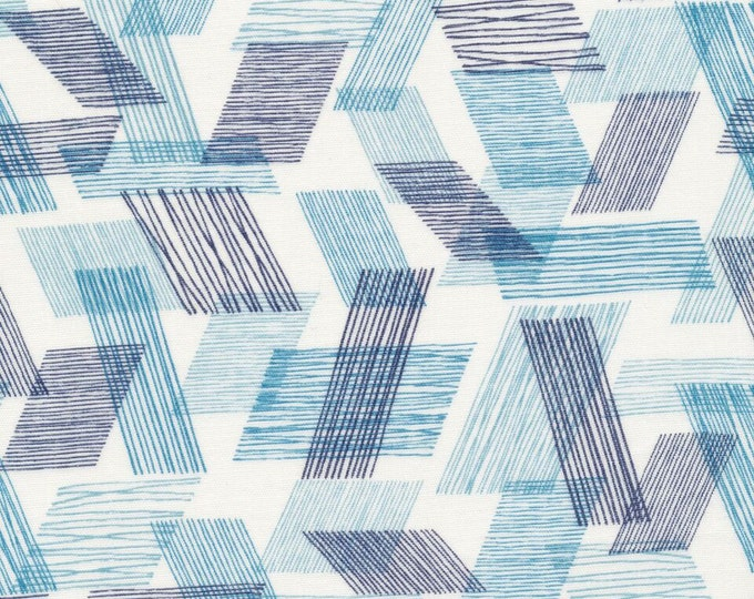 Threads - Warp and Weft in Teal by Eloise Renouf for Cloud 9 Fabrics - Organic Double Gauze Fabric