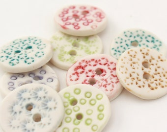 Itty Bitty Buttons,  A Set of 9 Handmade Ceramic Buttons