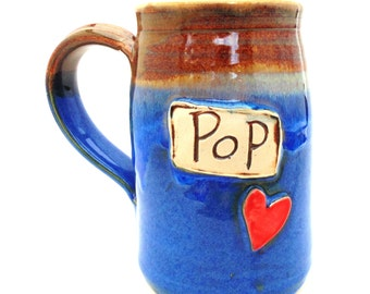 Handmade Pottery Mug Pop for Grandpa in Blue and Brown ceramics and pottery by Jewel Pottery