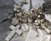 Custom Redo for Sweet Mary R....custom...Christ You Know it Ain't Easy Vintage Crosses Agate Bracelet