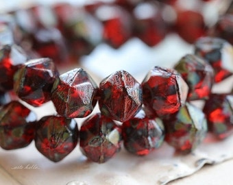 10% off RUBY TREASURES No. 2 .. NEW 20 Picasso Czech Glass English Cut Beads 8mm (5218-st)