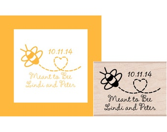 Save the Date Meant to Bee Personalized Rubber Stamp