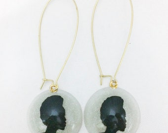 Natural Hair Cameo (Frohawk) on Gold Kidney Earwire